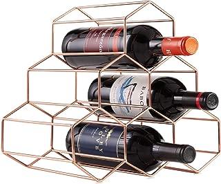 DCIGNA Metal Wine Rack Free Standing, Tabletop Gold Wine Rack, Countertop Wine Bottle Holder - Metal Brushed Gold and Geometric Design for Wine Cellar Bar Cabinet (Rose Gold - 6 ottles)