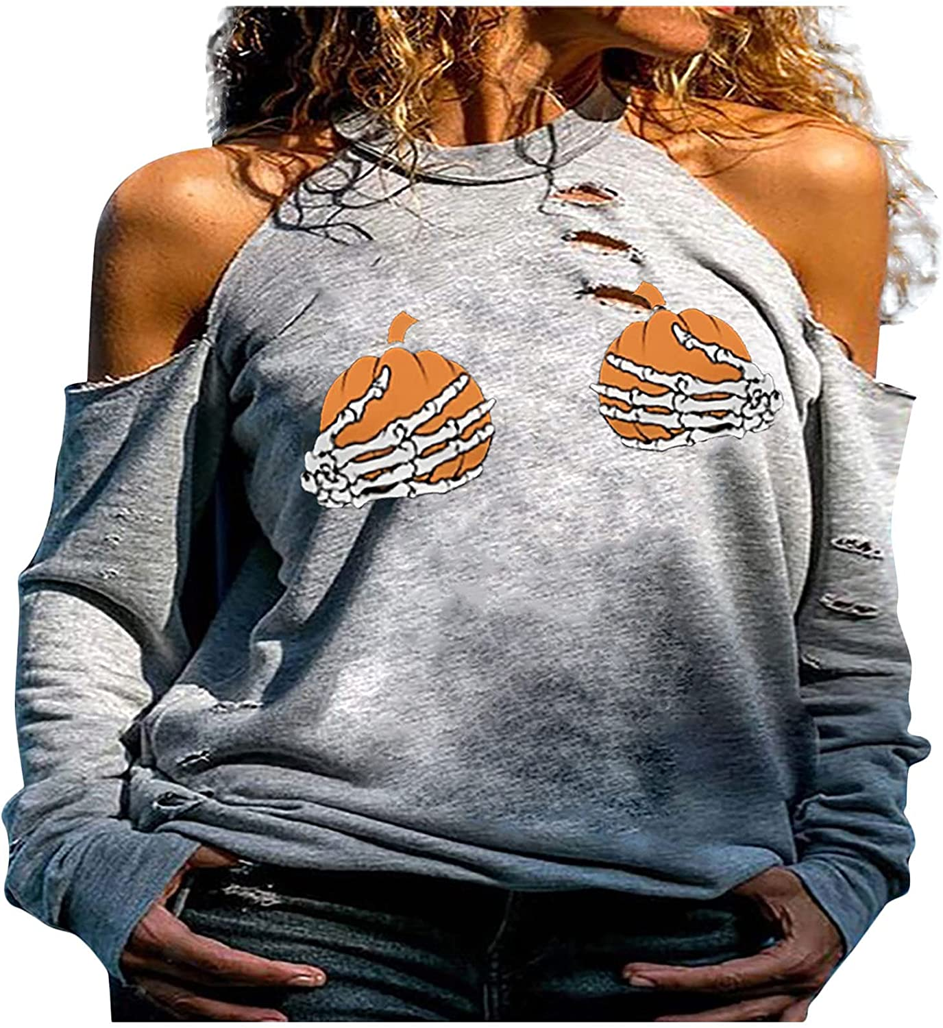 Halloween Oversized Tops for Women, wodceeke Womens Hollow Strapless Halter Blouse Loose Long Sleeve Crewneck T Shirts