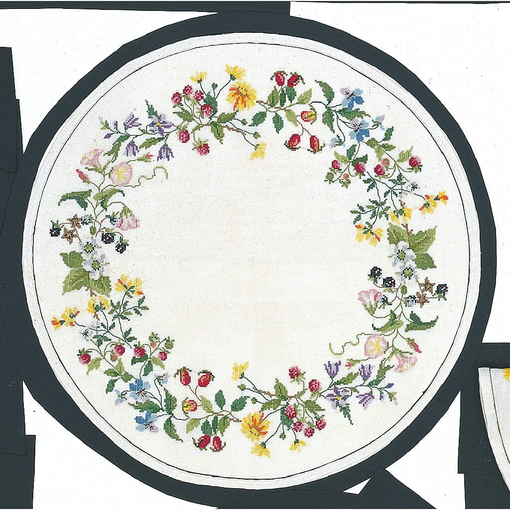 Eva Rose Stand High quality Max 72% OFF Tablecloth Cross Wreath Set Patter Counted Stitch