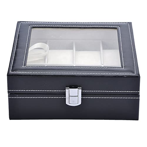 VALYRIA Watch Box Large 8 Mens Black Leather Display Glass Top Jewelry Case Organizer