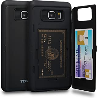 TORU CX PRO Note 5 Wallet Case Black with Hidden Credit Card Holder ID Slot Hard Cover & Mirror for Samsung Galaxy Note 5 ...