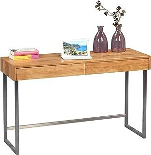 HomeTrends4You 616022 skrivbord/sekreterare/konsolbord terri, äkta trä vildmark massiv oljad, stång rostfritt stål, med lå...