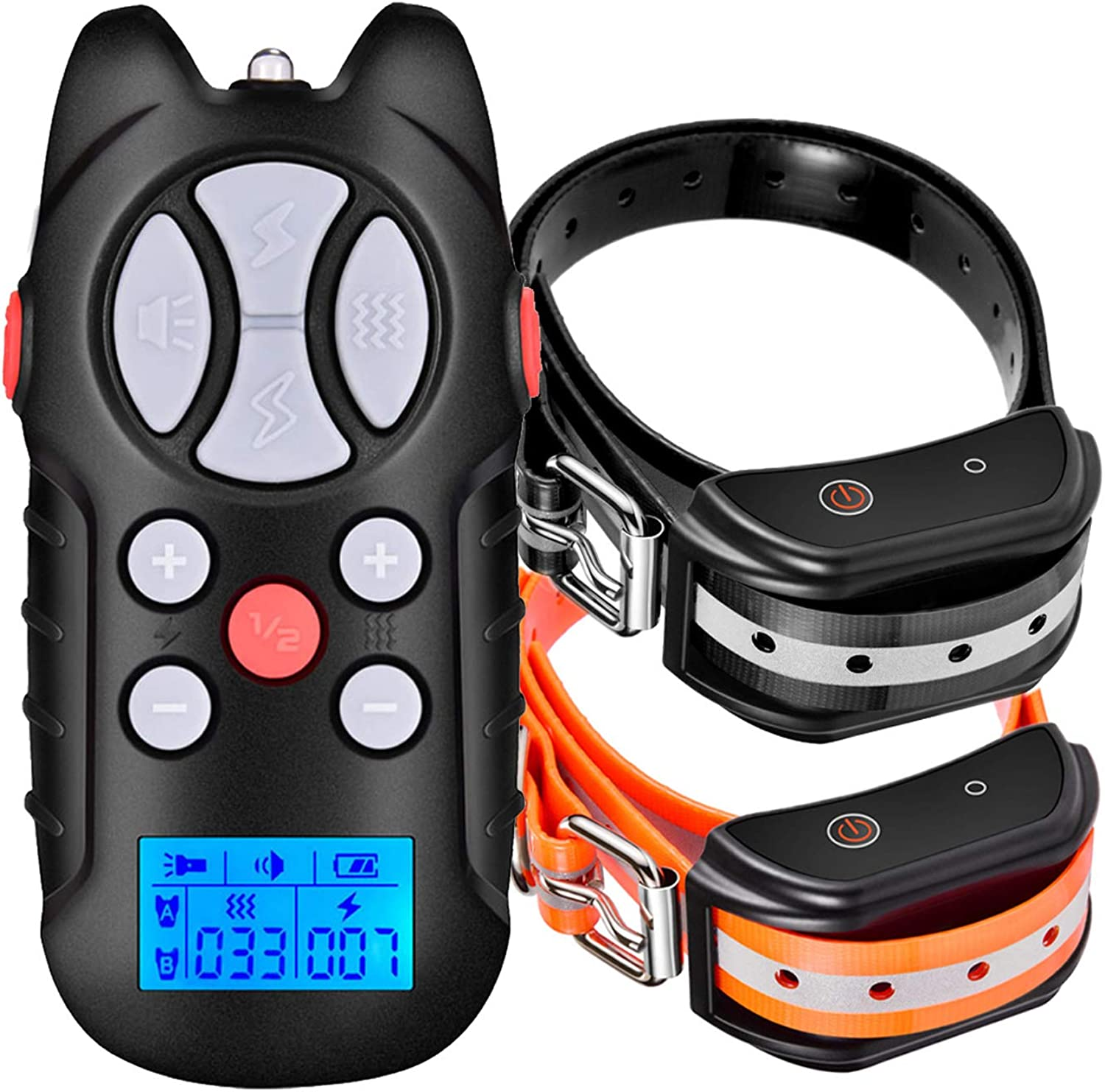 Havenfly Dog Training Collar with beep, Vibration Remote Control and Light, Rechargeable and Waterproof Adjustable Dog Collar Trainer for 2 Dogs