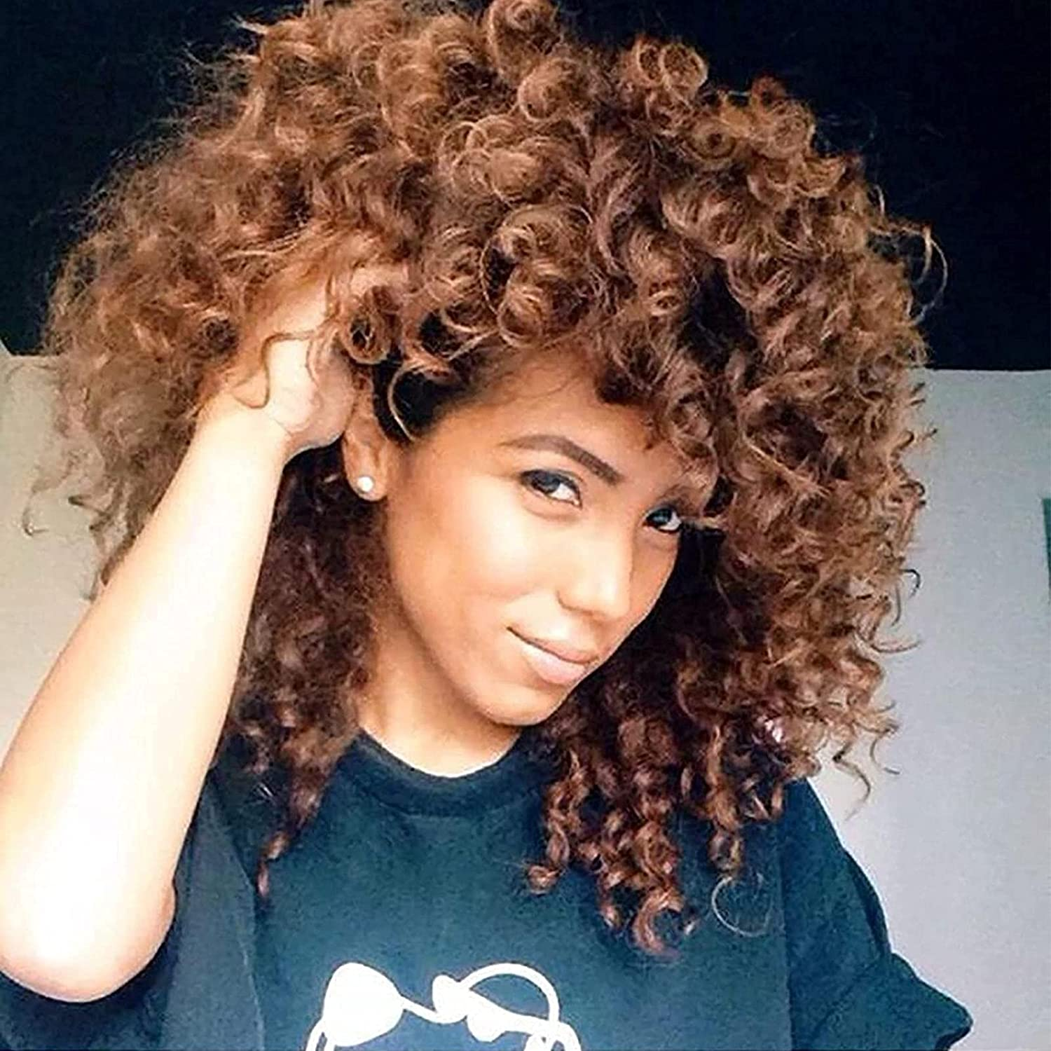 Cosplay Blonde Yellow Cheap mail order specialty store Outlet ☆ Free Shipping Afro Curly Synthetic Bangs Wig 14 with in