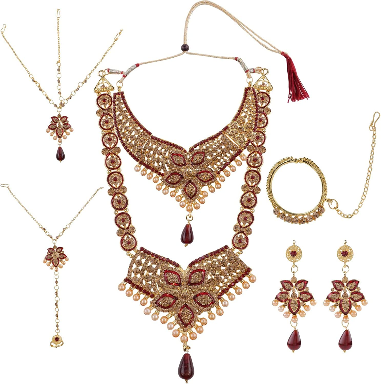 Efulgenz Indian Bollywood Bridal Wedding Rhinestone Necklace Earring Maang Tikka Head Chain Nose Ring Bracelet Jewelry Set