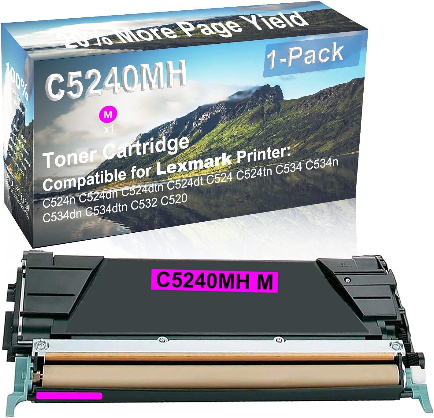 1-Pack (Magenta) Compatible High Yield C5240MH Laser Printer Toner Cartridge Used for Lexmark C534dn, C534dtn, C534dtn, C532, C520 Printer