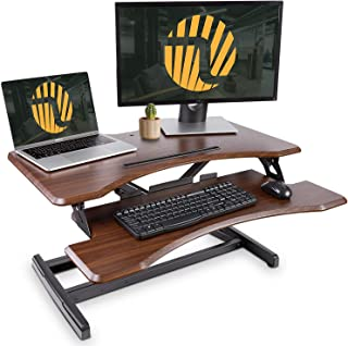 Standing Desk with Height Adjustable – FEZIBO Stand Up Desk Converter, 33 inches Dark Wood Ergonomic Tabletop Workstation Riser fits Dual Monitors