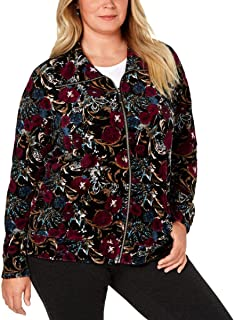 Karen Scott Womens Plus Casual Velvet Athletic Jacket