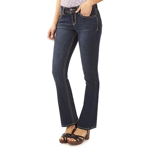 a9cc93c00b7 WallFlower Women s Juniors Basic Legendary Stretch Bootcut Denim Jeans