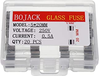 BOJACK 5x20mm 0.5A 0.5amp 250V 0.2 x 0.78 Inch F0.5AL250V Fast-Blow Glass Fuses(Pack of 20 Pcs)