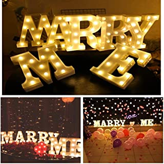 LED Light Up Letter, Valentine Gift - Light Up Marry Me Sign with Warm White LEDs - Proposal Sign, Will You Marry Me Sign, Wedding Sign, Engagement Sign, Romantic Proposal