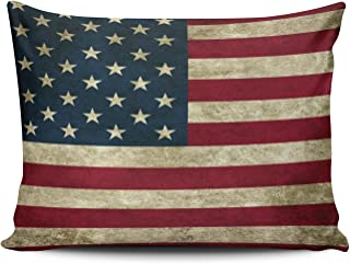 SALLEING Custom Fancy Plush American Flag Pride Decorative Pillowcase Pillowslip Throw Pillow Case Cover Zippered One Side Printed 12x18 Inches