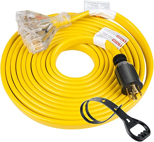 25 Feet Heavy Duty Generator Adapter Extension Cord,Generator Locking Cord,NEMA L14-30P to Four 5-20R, 4 Prong 10 Gau...
