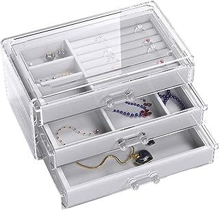 UEK Jewelry Box 3 Drawers Acrylic Jewelry Organizer, Velvet Jewellery Organizer Small Clear Jewelry Case, Earring Rings Bangle Bracelet Necklace Storage for Women, Girls