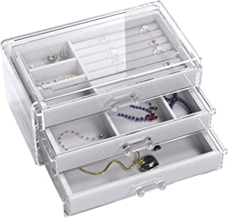 UEK Jewelry Box 3 Drawers Acrylic Jewelry Organizer, Velvet Jewellery Organizer Small Clear Jewelry Case, Earring Rings Bangle Bracelet Necklace Storage for Women, Girls