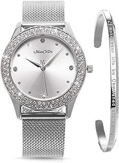 ManChDa Womens Wrist Watch Crystal Case Mesh Stainless Steel Band Ladies Quartz Diamond Classic Fashion Romantic + Jewelry Cuff Bracelet Set