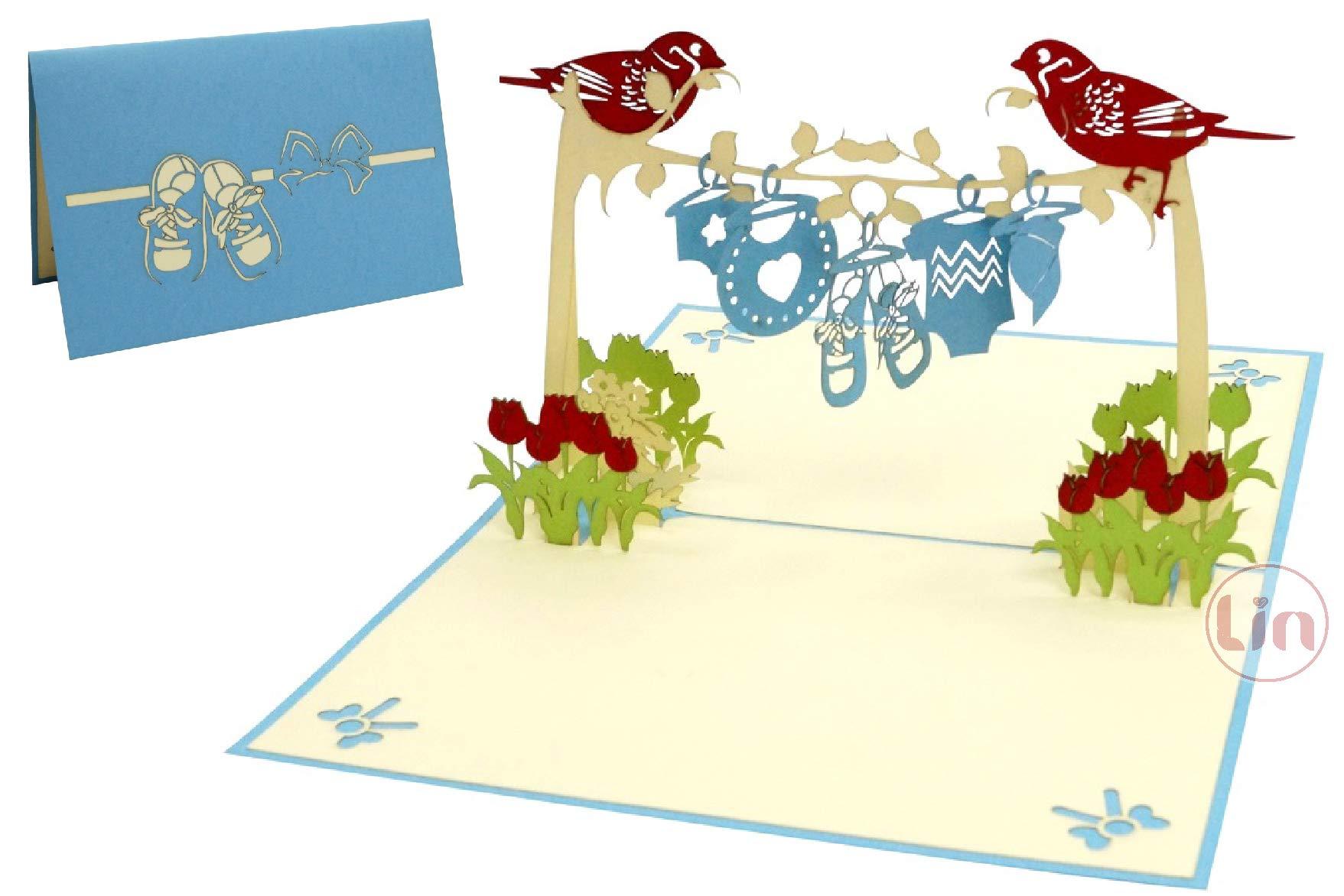LIN17582 - Tarjeta postal de nacimiento, tarjeta de felicitación de nacimiento, tarjeta de nacimiento, tarjeta de felicitación en 3D, N342: Amazon.es: Oficina y papelería