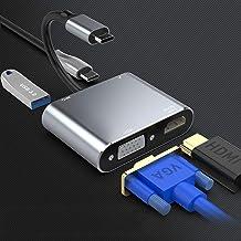 Rocketek USB C a VGA HDMI Adaptador, 4 en 1 Tipo C Hub a HDMI 4K VGA 1080P USB3.0 y 87W PD Multipuerto Adaptador para Nint...