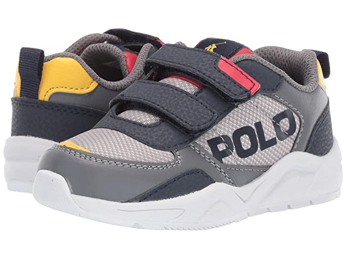 Polo Ralph Lauren Kids  Chaning EZ (Toddler) (Grey Mesh/Tumbled/Navy/Red/YellowithYellow PP) Kids Shoes
