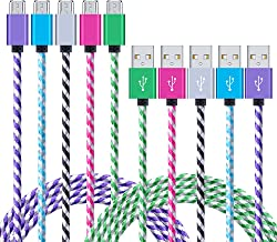 Android Charging Cable, NonoUV 5-Pack 6ft Nylon Braided USB 2.0 Data Sync Samsung Fast Charging Phone Charger Cord for Galaxy S3/S4/S6 Edge S7, Note 4 5, HTC, LG, Tablet, Bluetooth Speakers, Nokia