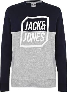 Jack and Jones Men's Half Logo Crew Neck Sweatshirt Long Sleeve