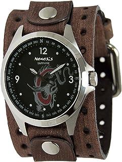 [ネメシス] Nemesis 腕時計 Men's 'Sapphire' Quartz Stainless Steel and Leather Casual Watch, Color:Brown 日本製クォーツ B7HB250D メンズ 【並行輸入品】