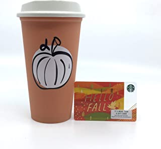 Starbucks 2018 Fall Pumpkin MEXICO LIMITED EDITION Reusable Travel Plastic Cup to Go Grande 16 Oz Tumbler w/Lid. Microwave and Dishwasher Safe. Collectable Plus a Bonus Free Zero Balance SB Gift Card