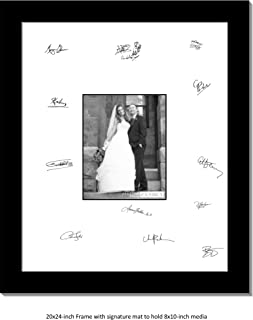 CreativePF [8x10-20x24bk-w] Signature Frame - Photo Frame with White Mat Holds 8x10-inch Media Including Scratch Resistant Acrylic, Installed Wall Hangers and Wire Kit
