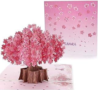 グリーティングカード ポップアップ メッセージカード 3D 立体的 桜咲く可愛い手紙 贈り物 プレゼント 桜祭り クリスマス 誕生日 結婚祝い バレンタインデー
