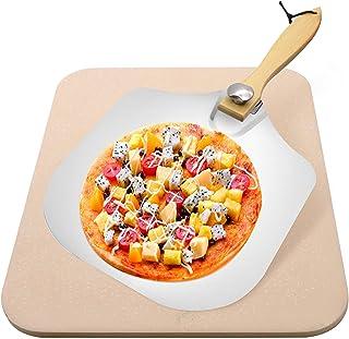 YADIMI Pierre à Pizza avec Pelle Pour pour Four XL Pierre Pizza Rectangulaire 38 x 30 cm en Cordiérite Four Traditionnel a...