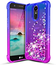 LG K10 2017 Case,LG K20V/K20 Plus/Harmony/Grace LTE/LV5 /K20 Phone Case,Slim Flexible TPU Glitter Flowing Liquid Quicksand Shockproof Protective Phone Cover for Girls Women-Blue/Purple