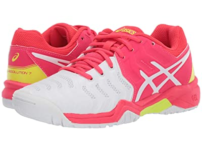 ASICS Kids GEL-Resolution(r) 7 GS Tennis (Little Kid/Big Kid) (White/Laser Pink) Girls Shoes