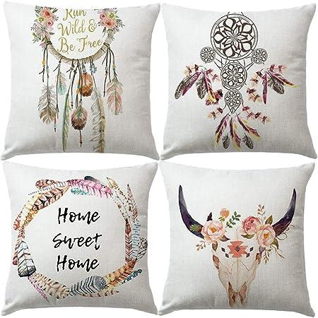 Dreamcatcher Pillow Case Bohemian Feather Print Cushion Cover Sofa Bed Decor