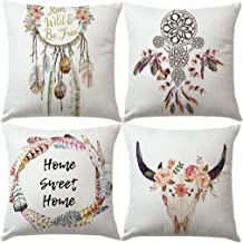 7ColorRoom Bohemian Style Pillow Covers Dream Catcher Tribal Nursery with Feather Home Sweet Home Cushion Cover Deer & Flower Home Decorative Pillowcases for Sofa Bed Decor 18