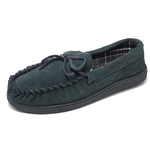 7cb671a27292 Mens Sleepers Real Suede Wide Fit Leather Moccasin Slippers Navy Blue Brown  Size 8 9 10