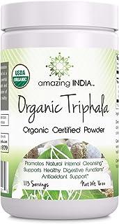 Amazing India USDA Certified Organic Triphala Powder (Non-GMO,Gluten Free) 16 oz-Raw, Vegan- Gluten-Free, Plant-Based Nutr...