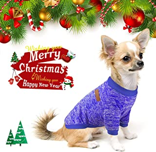 Idepet Pet Dog Classic Knitwear Sweater Fleece Coat Soft Thickening Warm Pup Dogs Shirt Winter Pet Dog Cat Clothes Soft Puppy Customes Clothing for Small Dogs