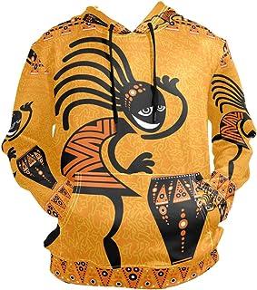 XiangHeFu Felpe con Cappuccio da Uomo Felpa con Cappuccio a Maniche Lunghe da Uomo di Danza Etnica Africana