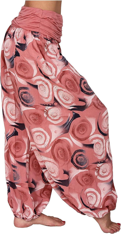 MINGE Women's Floral Print Elastic Waist Harem Pants Casual Plus Size Waist Straight Loose Long Pants