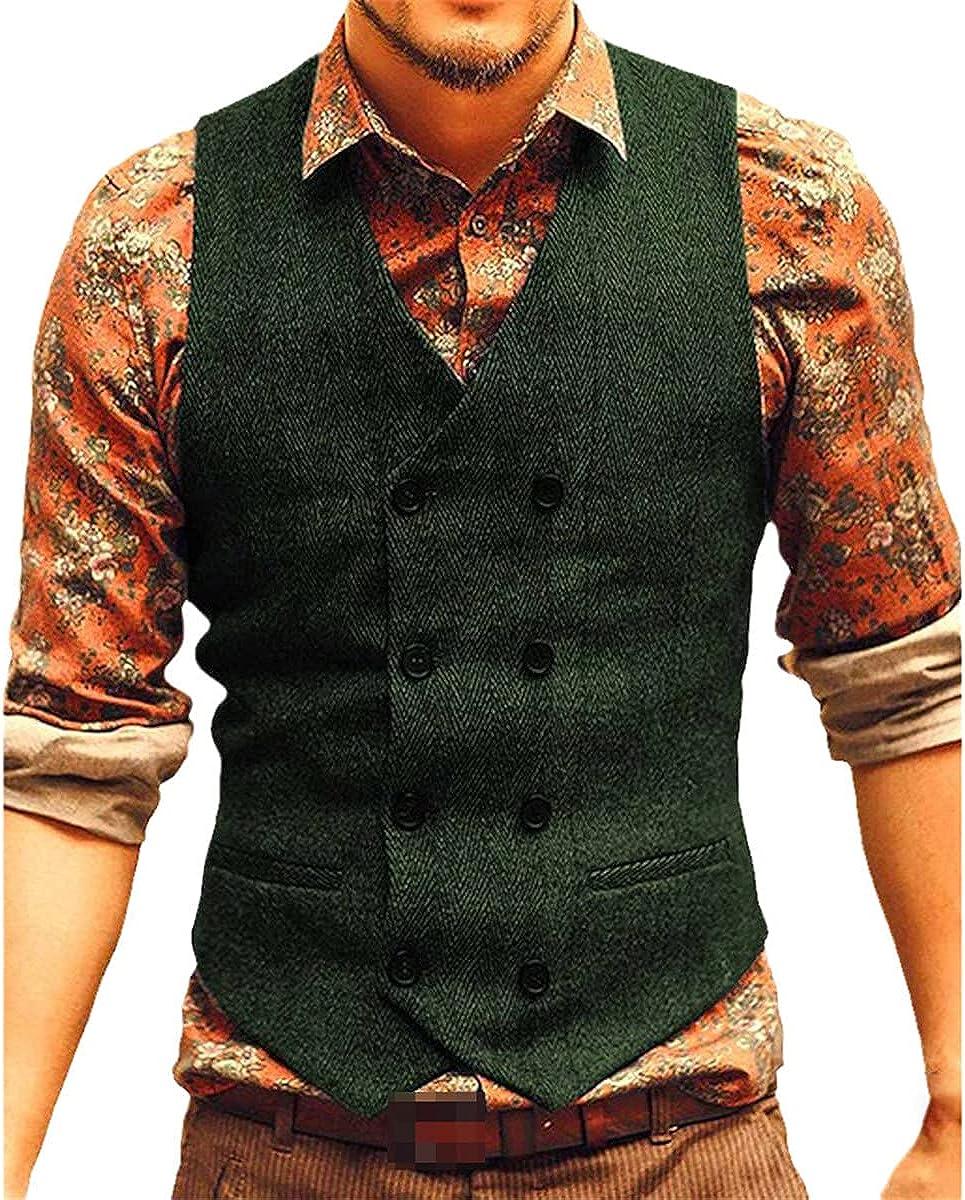 Men's vest suit vest tweed brown black groomsmen wedding dress jacket Victorian style