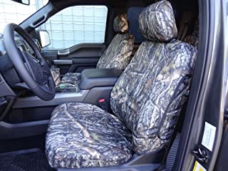 Durafit Seat Covers Made to fit 2015-2018 Ford F150-550 XL/XLT/Lariat, Front Buckets, with Adjustable HR & Rear 60/40 Split Bench, A-HR, No Armrest, Double Cab Front & Back Seat Cover Set, in Camo