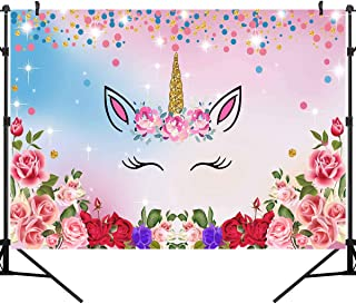 OUYIDA 7X5FT Unicorn Birthday Party Photography Background Watercolor Flowers Roses Cute Stars Smiling Face Baby Shower Unicorn Head Sweet Photography Background Computer-Printed Vinyl Backdrop PCK40