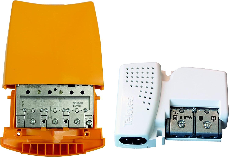 Kit Amplificador TELEVES 36 dB + Fuente de alimentación 24V 2 Salidas. Segundo dividendo Digital 5G. No Compatible con parabólica