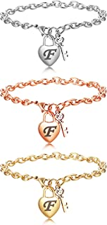 Jstyle 3Pcs Heart Initial Bracelets for Women Stainless Steel Engraved 26 Letters Initial Charms Link Bracelet Women Valen...