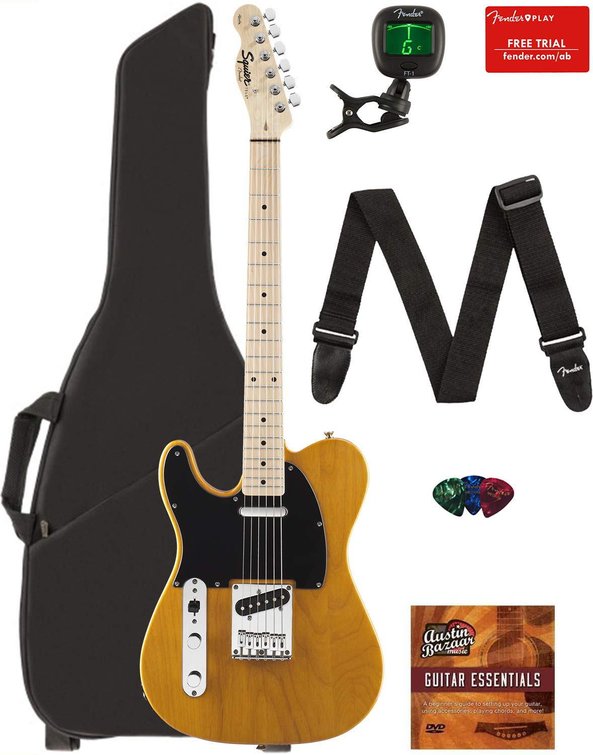 Cheap Fender Squier Affinity Series Telecaster Left-Handed Guitar - Maple Fingerboard Butterscotch Blonde Bundle with Gig Bag Tuner Strap Picks and Austin Bazaar Instructional DVD Black Friday & Cyber Monday 2019