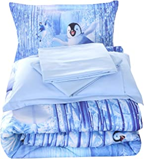 Wowelife 3D Penguin Comforter Set Twin Penguin Playing in Snow White and Blue Bed Set 5 Piece Kids Bedding with Comforter, Flat Sheet, Fitted Sheet and 2 Pillow Cases(White Penguin, Twin)