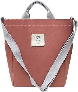 KIWITECH Umhängetaschen groß Tasche Canvas Damen Rosa Handtasche Damen Schultertasche Crossbody Bag Shopper für Schule Shopping Arbeit Einkauf Ziegelrot