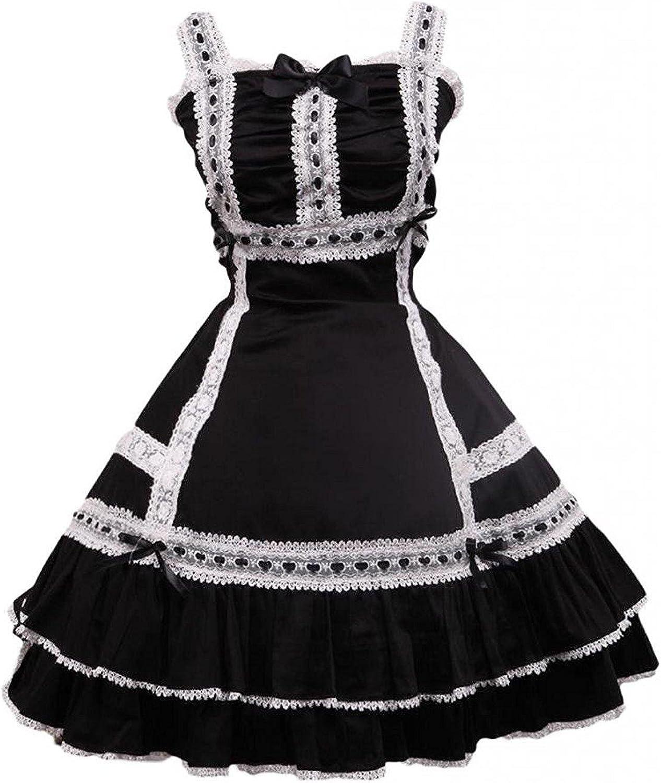 Cemavin Womens Cotton Black Sleeveless Lace Classic Lolita Dress