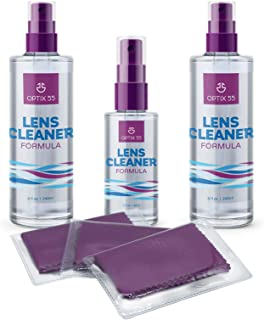 Lens Cleaner Spray Kit - Alcohol & Ammonia Free | (2) 8oz + (1) 2oz Eye Glasses Cleaner Spray + (3) Microfiber Cloths | Safe for Eyeglasses, Lenses & Screens | Streak-Free, Unscented