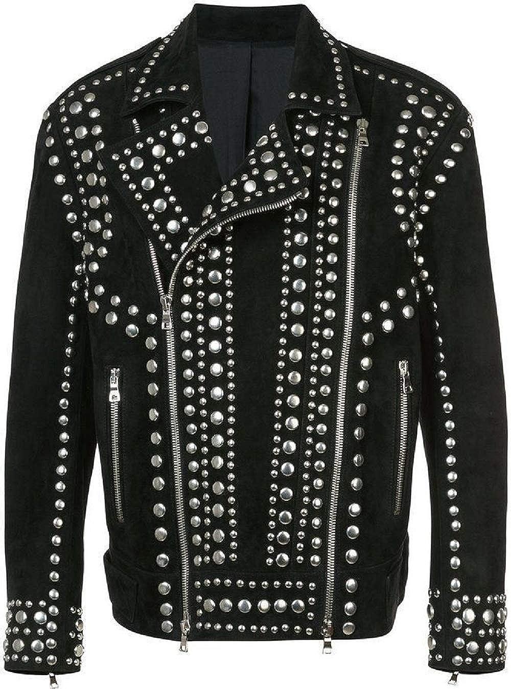 Mens Brando Studded Punk Rock Motorcycle Black Spike Suede Leather Jacket
